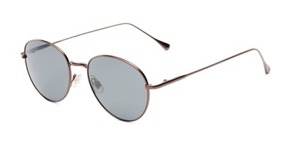 Angle of Bedford #30202 in Bronze/Brown Frame with Smoke Lenses, Women's and Men's Round Sunglasses