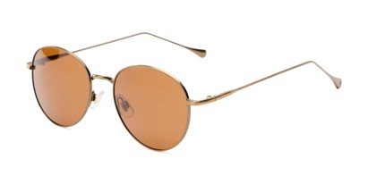 Angle of Bedford #30202 in Copper/Gold Frame with Amber Lenses, Women's and Men's Round Sunglasses