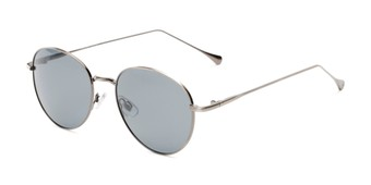 Angle of Bedford #30202 in Grey Frame with Smoke Lenses, Women's and Men's Round Sunglasses