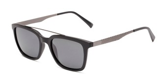 Angle of Bellamy #2885 in Matte Black /Grey Frame with Smoke Lenses, Women's and Men's Retro Square Sunglasses