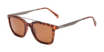 Angle of Bellamy #2885 in Matte Tortoise/Grey Frame with Brown Lenses, Women's and Men's Retro Square Sunglasses