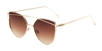Angle of Bellina #2193 in Gold Frame with Amber Lenses, Women's Cat Eye Sunglasses