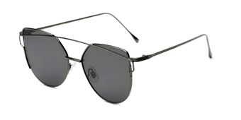 Angle of Bellina #2193 in Grey Frame with Grey Lenses, Women's Cat Eye Sunglasses