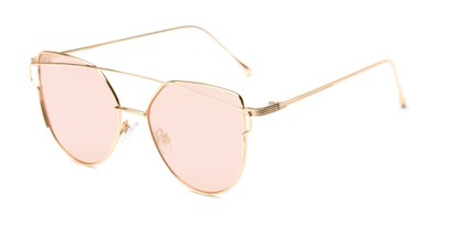 Angle of Bellina #2193 in Rose Gold Frame with Pink Lenses, Women's Cat Eye Sunglasses