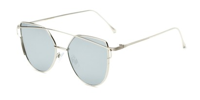 Angle of Bellina #2193 in Silver Frame with Silver Mirrored Lenses, Women's Cat Eye Sunglasses