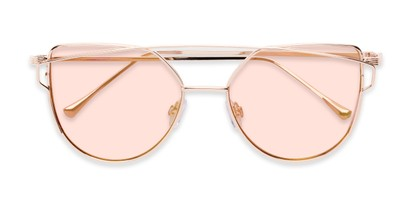 Folded of Bellina #2193 in Rose Gold Frame with Pink Lenses
