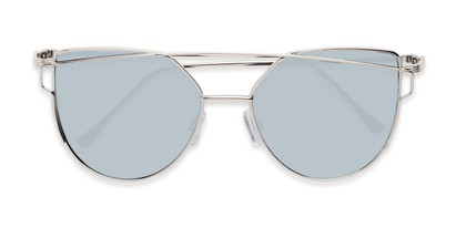 Folded of Bellina #2193 in Silver Frame with Silver Mirrored Lenses