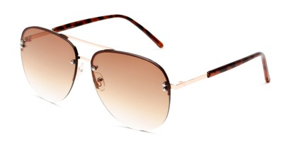 Angle of Bellow in Gold Frame with Amber Gradient Lenses, Women's and Men's Aviator Sunglasses
