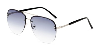 Angle of Bellow in Silver Frame with Blue Gradient Lenses, Women's and Men's Aviator Sunglasses