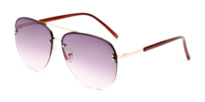 Angle of Bellow in Gold Frame with Pink Gradient Lenses, Women's and Men's Aviator Sunglasses