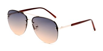 Angle of Bellow in Gold Frame with Blue/Pink Gradient Lenses, Women's and Men's Aviator Sunglasses