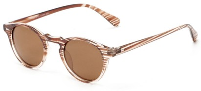 Angle of Benbrook #2513 in Brown/Clear Stripe Frame with Amber Lenses, Women's and Men's Round Sunglasses
