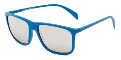 Angle of Bensley in Light Blue with Silver Mirrored Lenses, Men's Retro Square Sunglasses