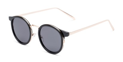 Angle of Benton #18922 in Glossy Black Frame with Grey Lenses, Women's and Men's Round Sunglasses