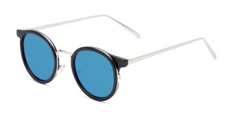 Angle of Benton #18922 in Matte Black Frame with Blue Mirrored Lenses, Women's and Men's Round Sunglasses