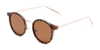 Angle of Benton #18922 in Glossy Tortoise Frame with Amber Lenses, Women's and Men's Round Sunglasses