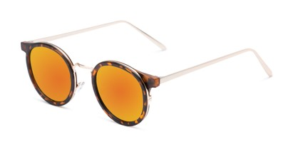 Angle of Benton #18922 in Matte Tortoise Frame with Orange Mirrored Lenses, Women's and Men's Round Sunglasses