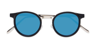 Folded of Benton #18922 in Matte Black Frame with Blue Mirrored Lenses