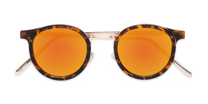 Folded of Benton #18922 in Matte Tortoise Frame with Orange Mirrored Lenses