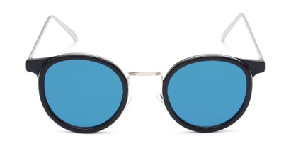 Front of Benton #18922 in Matte Black Frame with Blue Mirrored Lenses