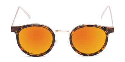 Front of Benton #18922 in Matte Tortoise Frame with Orange Mirrored Lenses