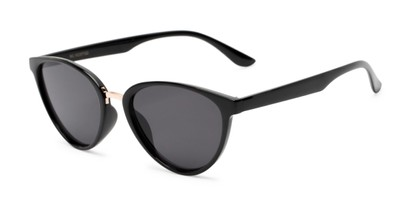 Angle of Berkley #16280 in Black Frame with Grey Lenses, Women's Cat Eye Sunglasses