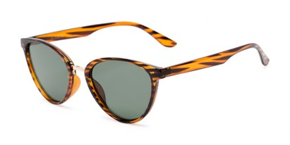 Angle of Berkley #16280 in Brown Striped Frame with Green Lenses, Women's Cat Eye Sunglasses