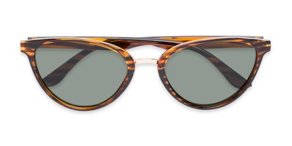 Folded of Berkley #16280 in Brown Striped Frame with Green Lenses