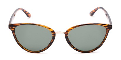 Front of Berkley #16280 in Brown Striped Frame with Green Lenses