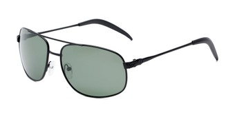 Angle of Bern #4289 in Black Frame with Green Lenses, Men's Aviator Sunglasses