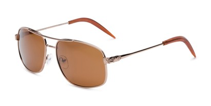 Angle of Bern #4289 in Gold Frame with Amber Lenses, Men's Aviator Sunglasses