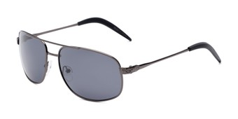Angle of Bern #4289 in Grey Frame with Smoke Lenses, Men's Aviator Sunglasses