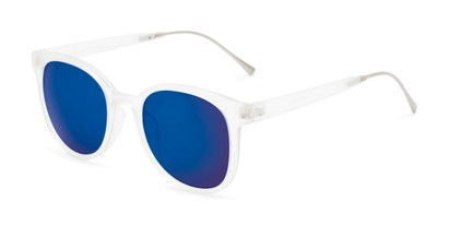 Angle of Blaire #6921 in Frosted Clear Frame with Blue Mirrored Lenses, Women's and Men's Round Sunglasses