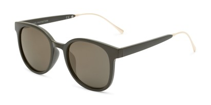 Angle of Blaire #6921 in Dark Green Frame with Gold Mirrored Lenses, Women's and Men's Round Sunglasses