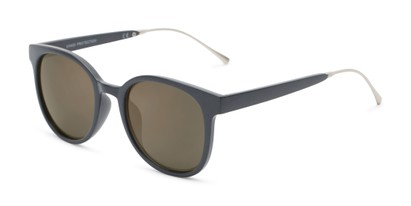 Angle of Blaire #6921 in Dark Grey Frame with Gold Mirrored Lenses, Women's and Men's Round Sunglasses
