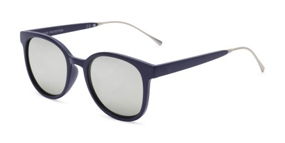 Angle of Blaire #6921 in Dark Blue Frame with Silver Mirrored Lenses, Women's and Men's Round Sunglasses