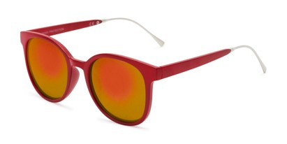 Angle of Blaire #6921 in Red Frame with Orange Mirrored Lenses, Women's and Men's Round Sunglasses