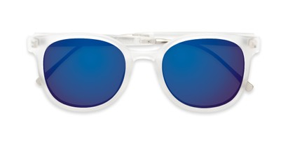 Folded of Blaire #6921 in Frosted Clear Frame with Blue Mirrored Lenses