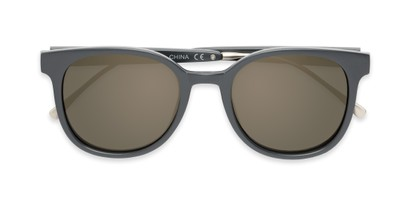 Folded of Blaire #6921 in Dark Grey Frame with Gold Mirrored Lenses