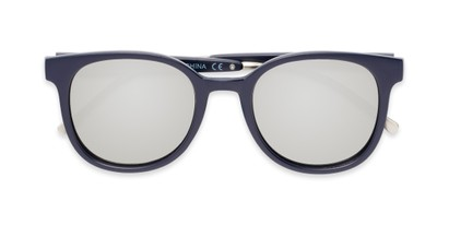 Folded of Blaire #6921 in Dark Blue Frame with Silver Mirrored Lenses