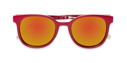 Folded of Blaire #6921 in Red Frame with Orange Mirrored Lenses