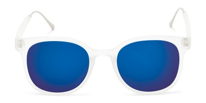 Front of Blaire #6921 in Frosted Clear Frame with Blue Mirrored Lenses