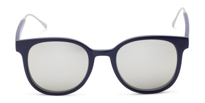 Front of Blaire #6921 in Dark Blue Frame with Silver Mirrored Lenses