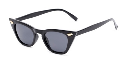Angle of Blanca #71019 in Black Frame with Grey Lenses, Women's Cat Eye Sunglasses