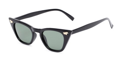 Angle of Blanca in Black Frame with Green Lenses, Women's Cat Eye Sunglasses