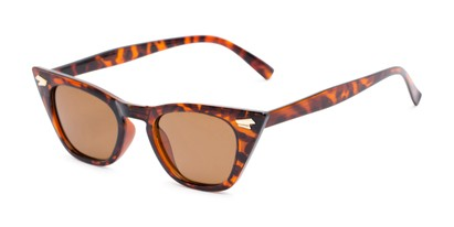 Angle of Blanca #71019 in Tortoise Frame with Amber Lenses, Women's Cat Eye Sunglasses