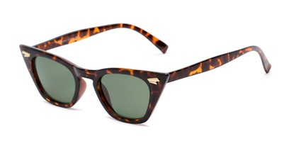 Angle of Blanca in Tortoise Frame with Green Lenses, Women's Cat Eye Sunglasses