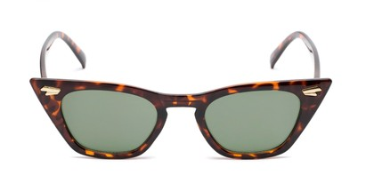 Front of Blanca in Tortoise Frame with Green Lenses