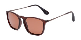 Angle of Boone #4187 in Matte Brown Frame with Amber Lenses, Women's and Men's Retro Square Sunglasses