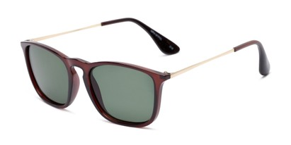 Angle of Boone #4187 in Glossy Brown Frame with Green Lenses, Women's and Men's Retro Square Sunglasses